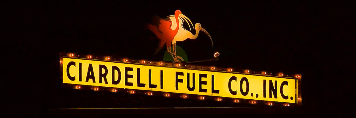 Landmark Ciardelli Fuel lighted sign in the center of Milford, NH