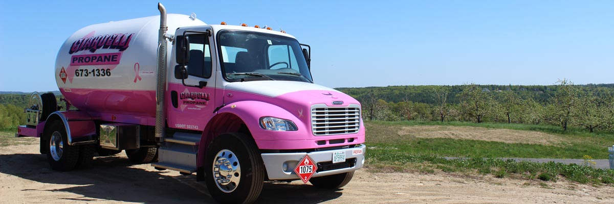 Propane Delivery pink truck, Ciardelli Fuel, Milford NH - American Breast Cancer Foundation - Propane for Life