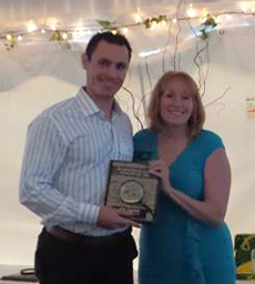 Matt Ciardelli receives 2016 Business Leader of the Year Award from the Souhegan Valley Chamber of Commerce.